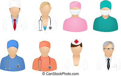 medisch, mensen, iconen