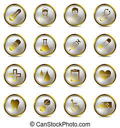 medisch, set, goud, iconen