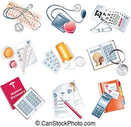 medisch, vector, set, pictogram