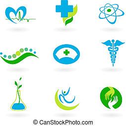 medisch, verzameling, iconen