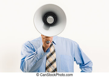 megafoon, door, het spreken