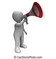 megafoon, karakter, radiouitzending, luid, het tonen, hailer, verkondigen