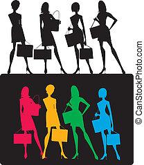 meiden, silhouettes, shoppen