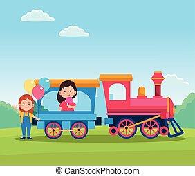 meiden, trein, ontwerp, kinderen, vrolijke , spotprent, dag