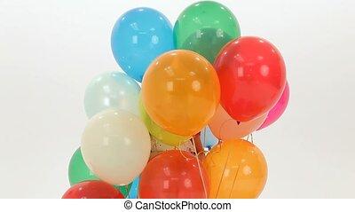 meisje, ballons, kleurrijke