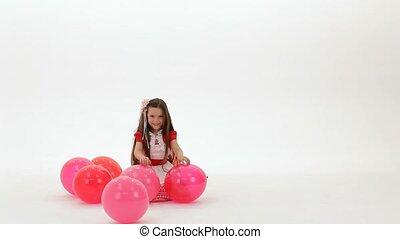meisje, ballons, spelend