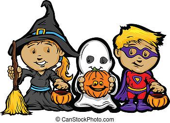 meisje, beeld, halloween, kinderen, truc, vector, behandelen, hefboom-o-lantaarns, of, spotprent, vrolijke