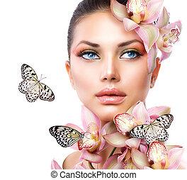 meisje, bloemen, vlinder, orchidee, mooi