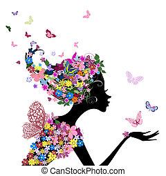 meisje, bloemen, vlinder