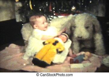 meisje, boompje, baby, onder, kerstmis
