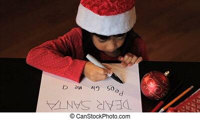 meisje, claus, aziaat, kerstman, schrijvende