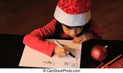 meisje, claus, kerstman, schrijvende