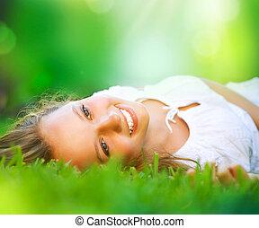 meisje, field., geluk, het liggen, lente