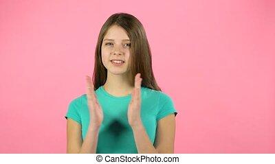 meisje, haar, handgeklap, studio, handen, lachen