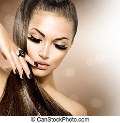 meisje, haarmanier, beauty, model, bruine , gezonde , lang