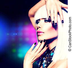 meisje, haarmanier, portrait., makeup, feestje, disco, paarse , witte