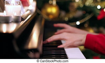 meisje, handen, piano spelen