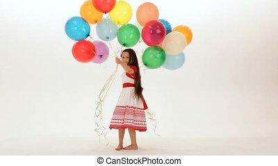 meisje, heeft, ballons, partij