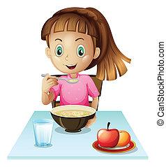 meisje, het eten van ontbijt