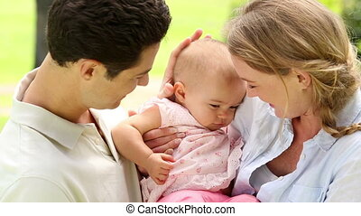 meisje, hun, baby, vrolijke , ouders