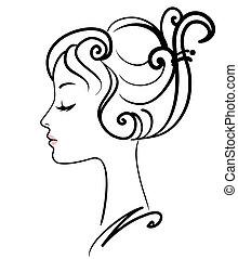 meisje, illustratie, gezicht, vector, mooi