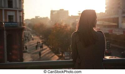 meisje, jonge, stad, blik, mooi