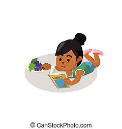 meisje, komisch, lezende