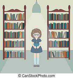meisje, library., gekke
