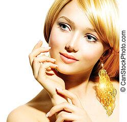 meisje, mode, beauty, model, gouden, hangers, blonde