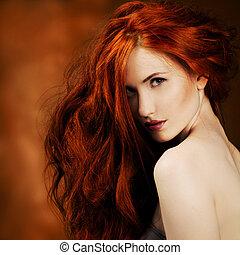 meisje, mode, hair., verticaal, rood