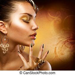 meisje, mode, makeup., goud, verticaal