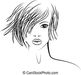 meisje, mode, modieus, illustratie, hairstyle