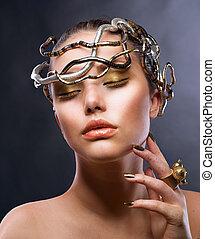meisje, mode, portrait., makeup, goud