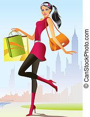 meisje, mode, shoppen