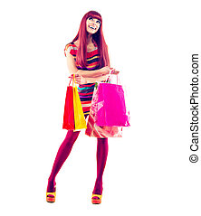 meisje, mode, shoppen , lengte, verticaal, volle