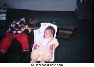 meisje, nieuw, (1965), haar, baby zitplaats