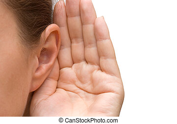 meisje, oor, het luisteren, haar, hand