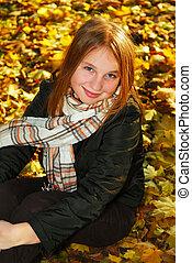 meisje, park, herfst