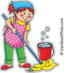meisje, poetsen