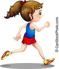 meisje, rennende , jonge