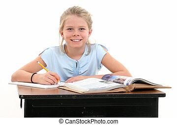 meisje, school, kind