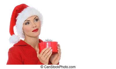 meisje, sexy, claus, kerstman, cadeau, hoedje, het tonen, doosje