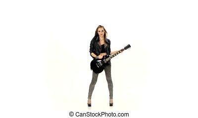 meisje, spelend, jonge, witte , achtergrond., gitaar, elektrisch, mooi