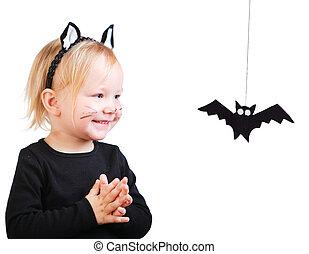 meisje, toddler, black , kostuum, kat