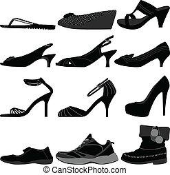 meisje, vrouw, schoentjes, vrouwlijk, schoeisel