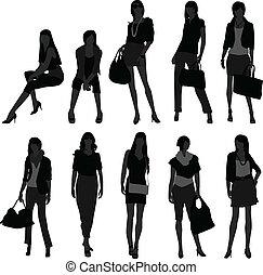 meisje, vrouw winkelen, model, vrouwlijk