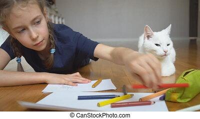 meisje, weinig; niet zo(veel), potlood tekenen, home.