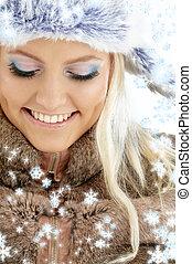 meisje, winter, snowflakes