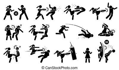 meldingsbord, afstraffing, bemannen vrouw, symbols., figuur, stok