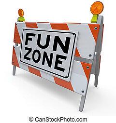 meldingsbord, bouwsector, plezier, speelplaats zone, barricade, geitjes